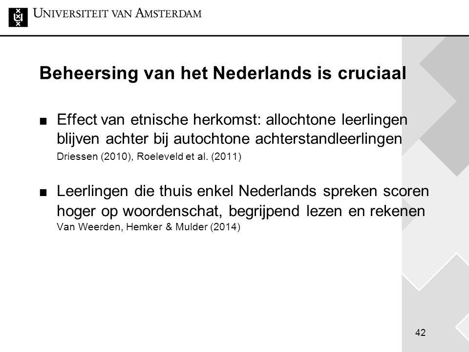42 Beheersing van het Nederlands is cruciaal Effect van etnische herkomst: allochtone leerlingen blijven achter bij autochtone achterstandleerlingen D