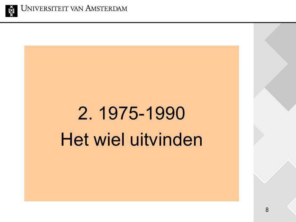 8 2. 1975-1990 Het wiel uitvinden