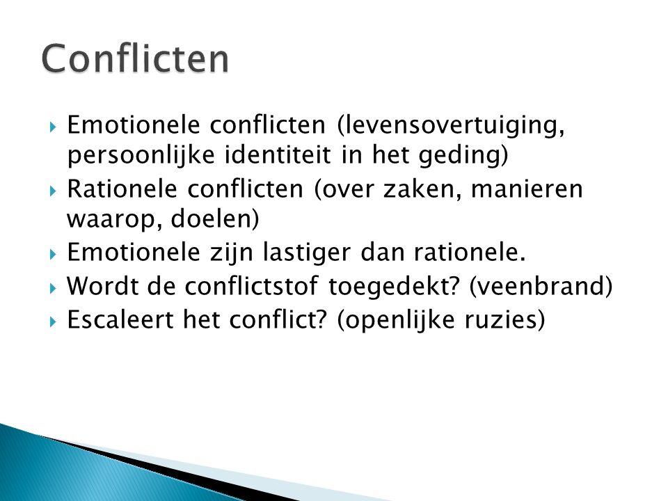  Emotionele conflicten (levensovertuiging, persoonlijke identiteit in het geding)  Rationele conflicten (over zaken, manieren waarop, doelen)  Emotionele zijn lastiger dan rationele.