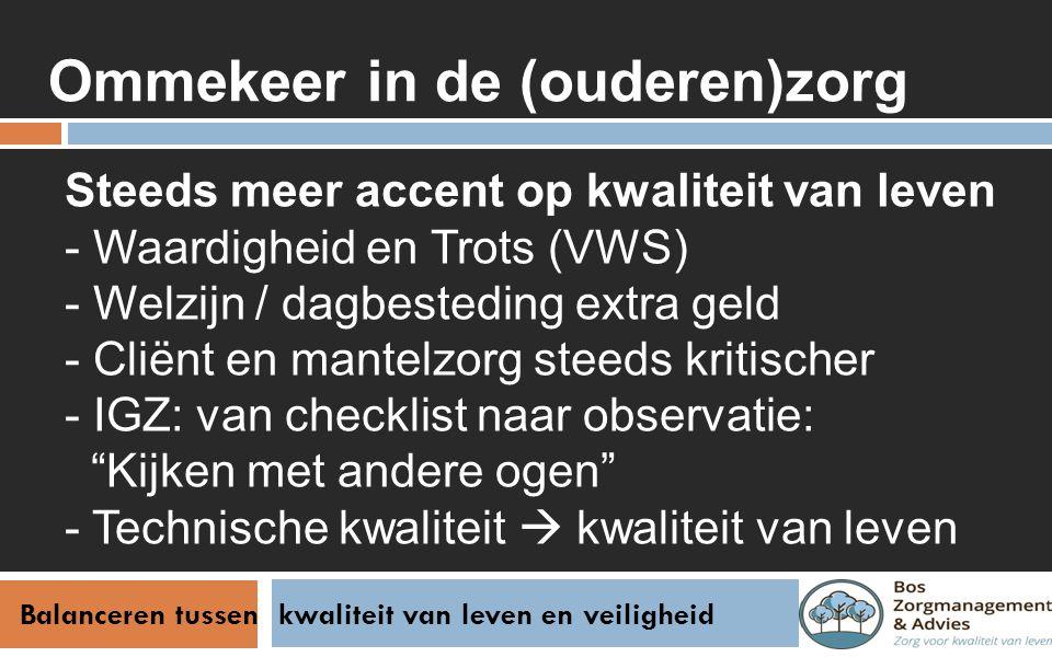Balanceren tussen kwaliteit van leven en veiligheid Stappenplan Bespreek wat kwaliteit van leven voor cliënt is Inventariseer samen risico's en leg deze vast Houd z.n.