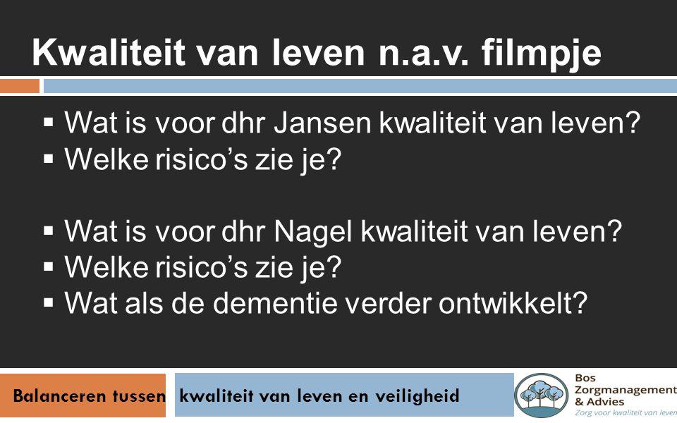 Balanceren tussen kwaliteit van leven en veiligheid Kwaliteit van leven n.a.v. filmpje  Wat is voor dhr Jansen kwaliteit van leven?  Welke risico's