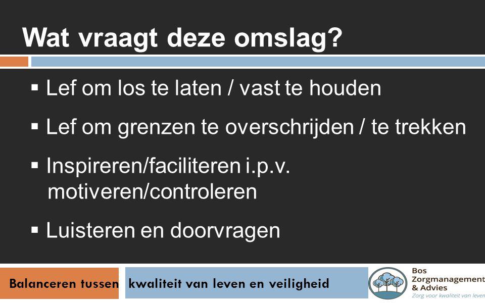 Balanceren tussen kwaliteit van leven en veiligheid Afsluiting Vragen / opmerkingen.