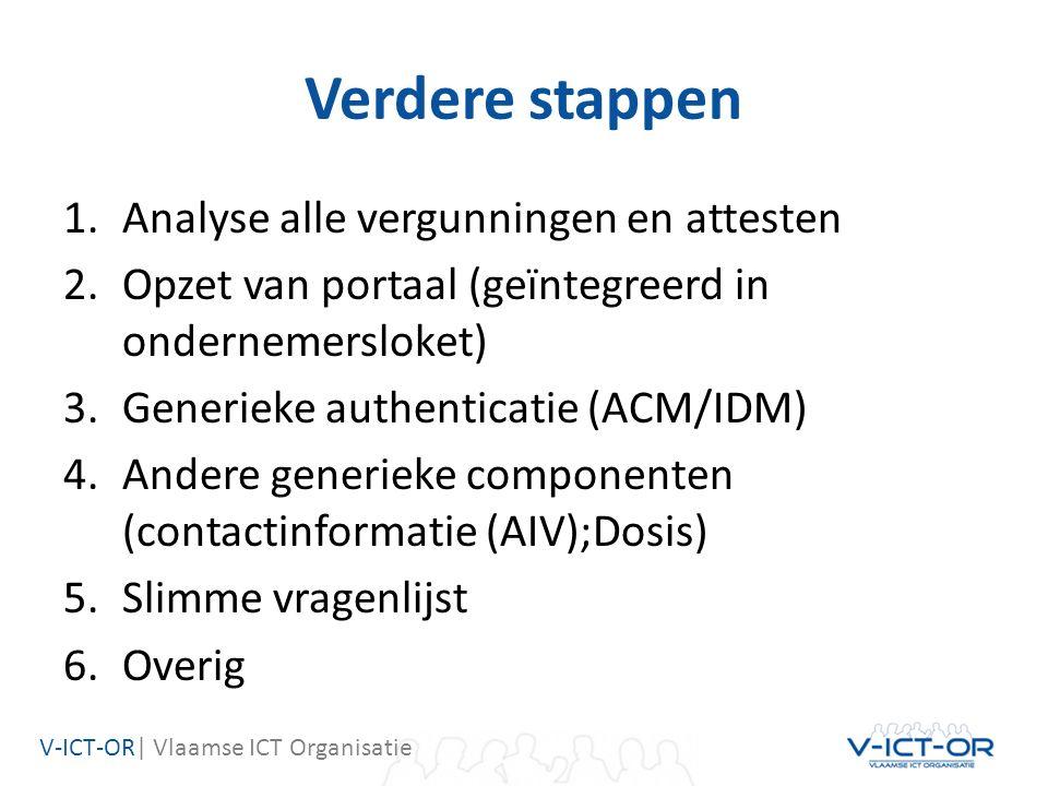 V-ICT-OR| Vlaamse ICT Organisatie Verdere stappen 1.Analyse alle vergunningen en attesten 2.Opzet van portaal (geïntegreerd in ondernemersloket) 3.Generieke authenticatie (ACM/IDM) 4.Andere generieke componenten (contactinformatie (AIV);Dosis) 5.Slimme vragenlijst 6.Overig