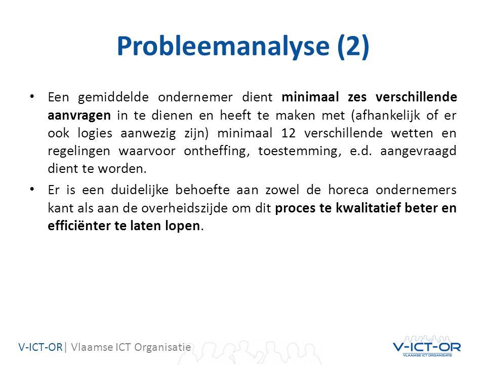 V-ICT-OR| Vlaamse ICT Organisatie Probleemanalyse (2) Een gemiddelde ondernemer dient minimaal zes verschillende aanvragen in te dienen en heeft te maken met (afhankelijk of er ook logies aanwezig zijn) minimaal 12 verschillende wetten en regelingen waarvoor ontheffing, toestemming, e.d.