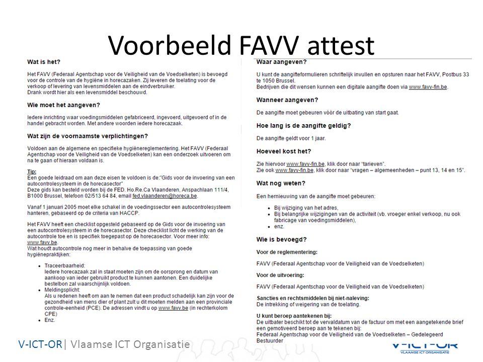 V-ICT-OR| Vlaamse ICT Organisatie Voorbeeld FAVV attest