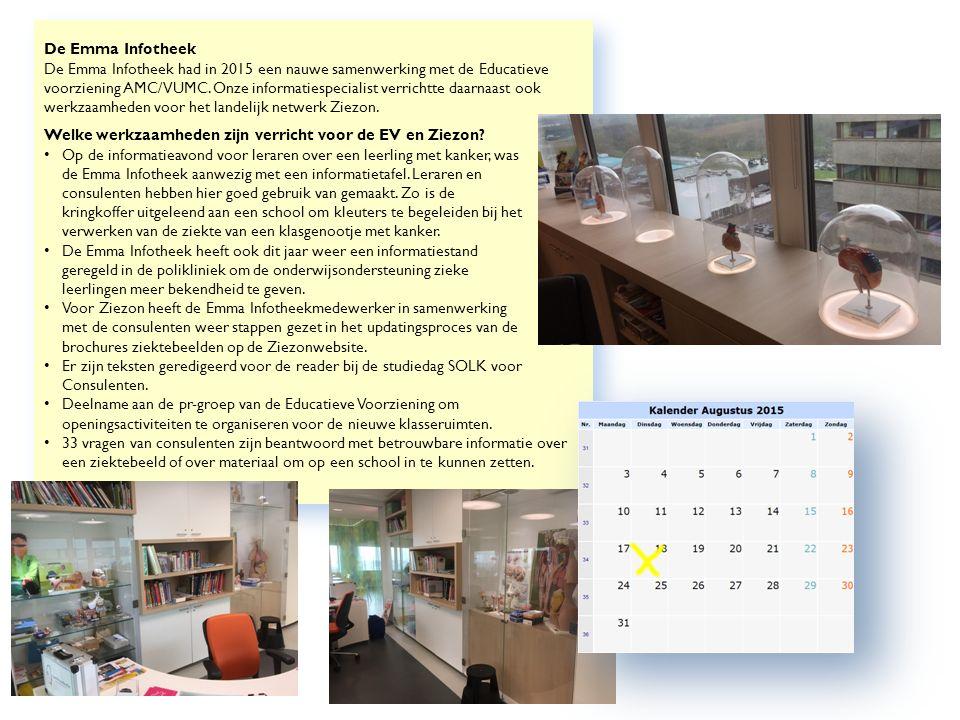 De Emma Infotheek De Emma Infotheek had in 2015 een nauwe samenwerking met de Educatieve voorziening AMC/VUMC.