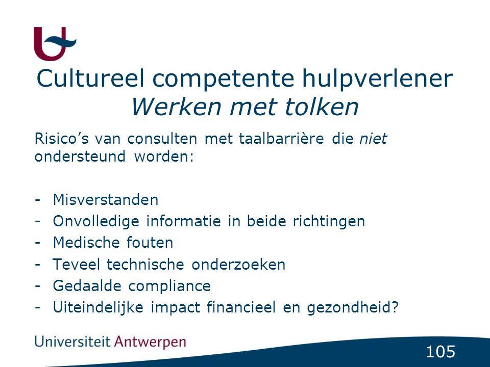 105 Risico's van consulten met taalbarrière die niet ondersteund worden: -Misverstanden -Onvolledige informatie in beide richtingen -Medische fouten -Teveel technische onderzoeken -Gedaalde compliance -Uiteindelijke impact financieel en gezondheid.