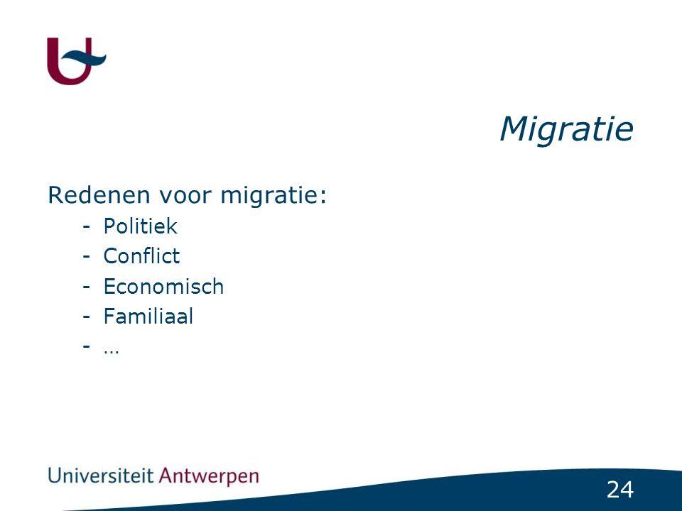 24 Migratie Redenen voor migratie: -Politiek -Conflict -Economisch -Familiaal -…