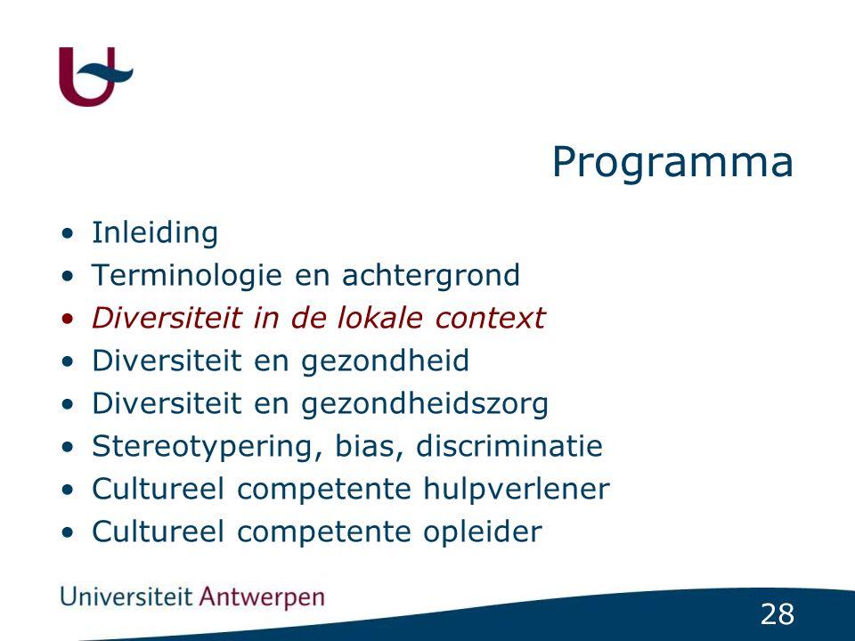 28 Programma Inleiding Terminologie en achtergrond Diversiteit in de lokale context Diversiteit en gezondheid Diversiteit en gezondheidszorg Stereotyp