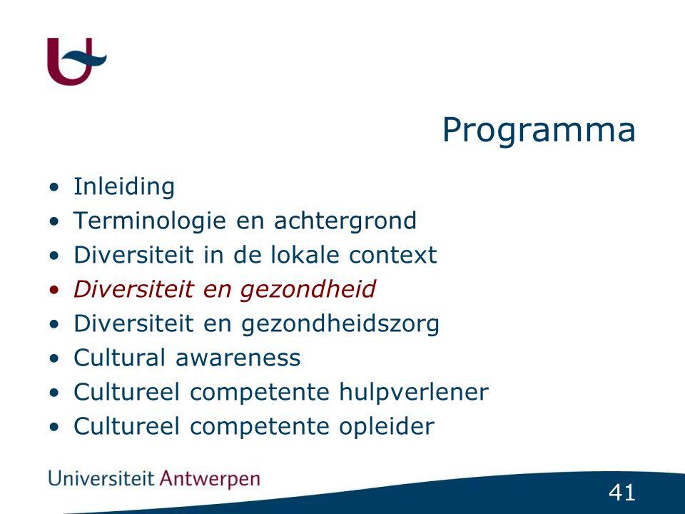 41 Programma Inleiding Terminologie en achtergrond Diversiteit in de lokale context Diversiteit en gezondheid Diversiteit en gezondheidszorg Cultural