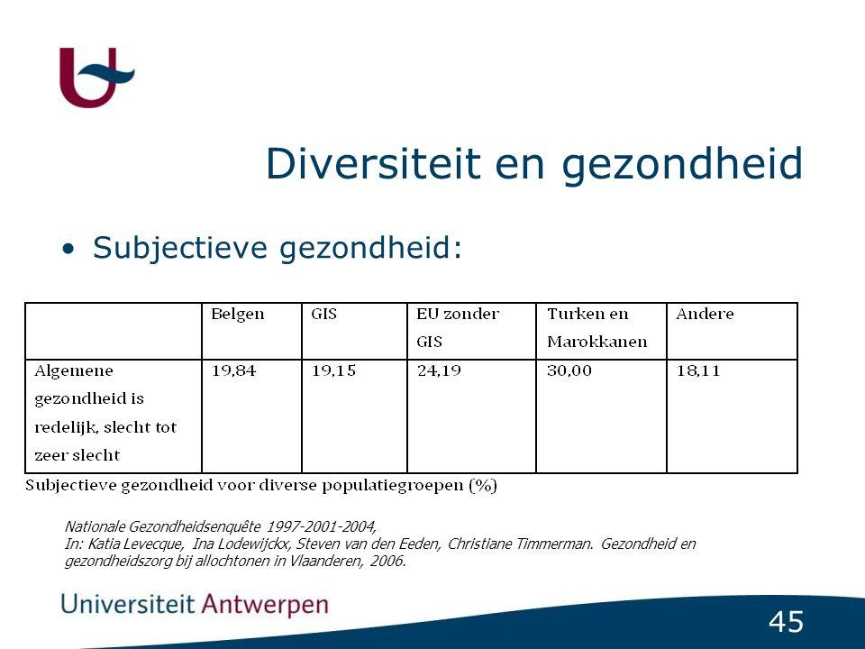 45 Diversiteit en gezondheid Subjectieve gezondheid: Nationale Gezondheidsenquête 1997-2001-2004, In: Katia Levecque, Ina Lodewijckx, Steven van den Eeden, Christiane Timmerman.