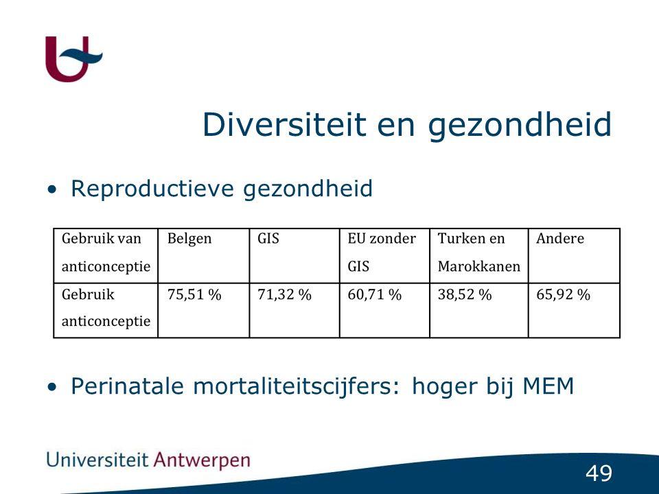 49 Diversiteit en gezondheid Reproductieve gezondheid Perinatale mortaliteitscijfers: hoger bij MEM