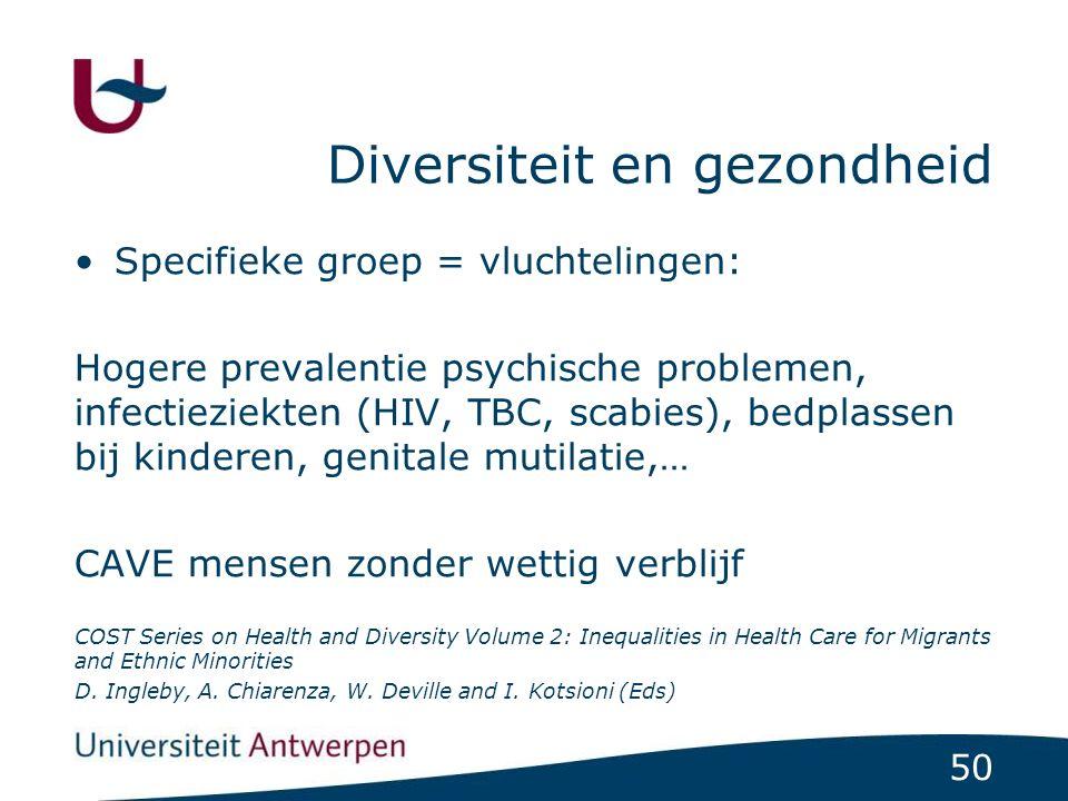 50 Diversiteit en gezondheid Specifieke groep = vluchtelingen: Hogere prevalentie psychische problemen, infectieziekten (HIV, TBC, scabies), bedplasse