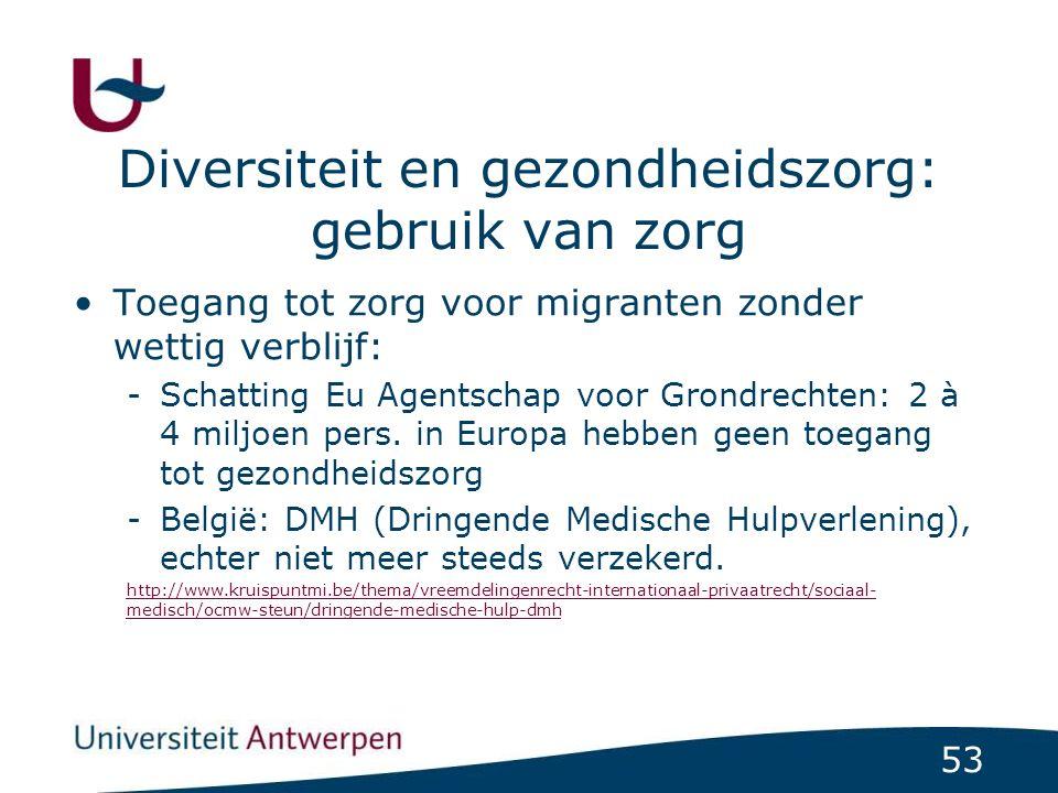 53 Diversiteit en gezondheidszorg: gebruik van zorg Toegang tot zorg voor migranten zonder wettig verblijf: -Schatting Eu Agentschap voor Grondrechten: 2 à 4 miljoen pers.