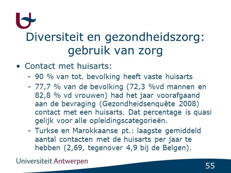 55 Diversiteit en gezondheidszorg: gebruik van zorg Contact met huisarts: -90 % van tot.