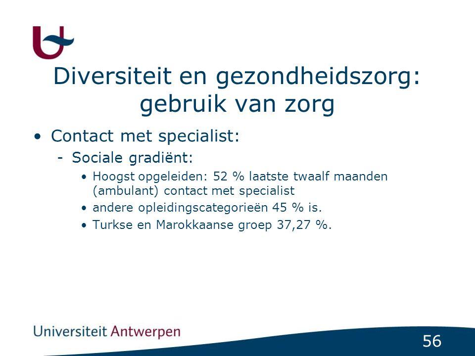 56 Diversiteit en gezondheidszorg: gebruik van zorg Contact met specialist: -Sociale gradiënt: Hoogst opgeleiden: 52 % laatste twaalf maanden (ambulant) contact met specialist andere opleidingscategorieën 45 % is.