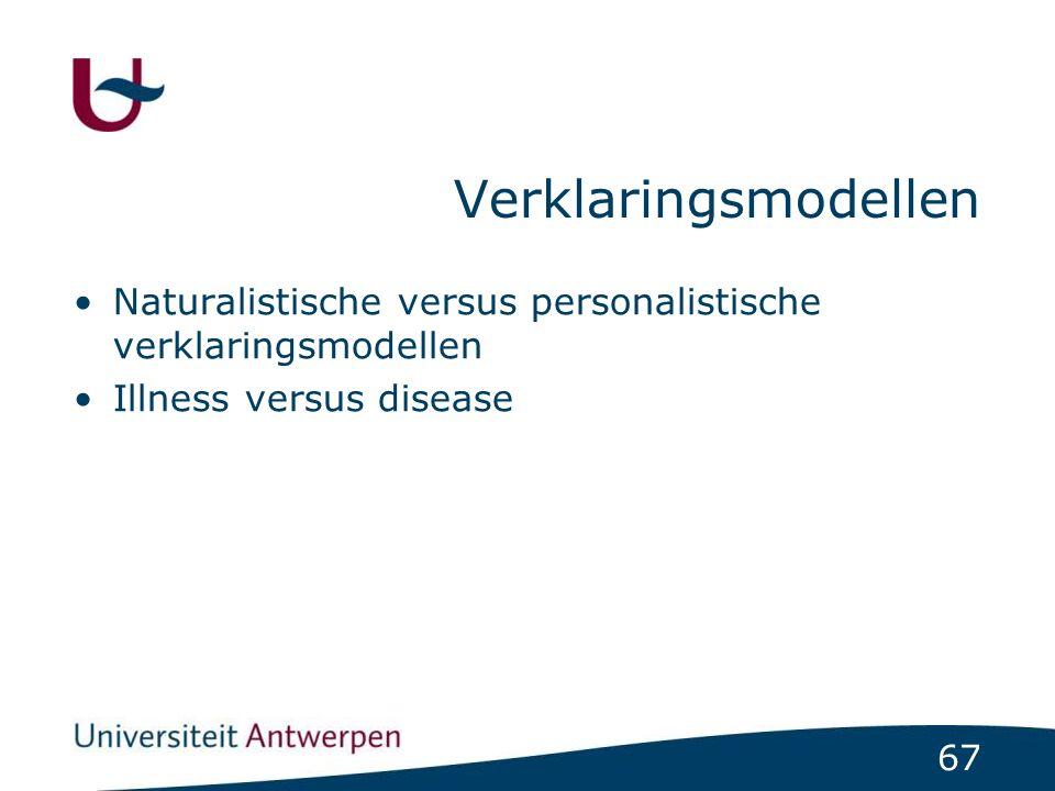 67 Verklaringsmodellen Naturalistische versus personalistische verklaringsmodellen Illness versus disease