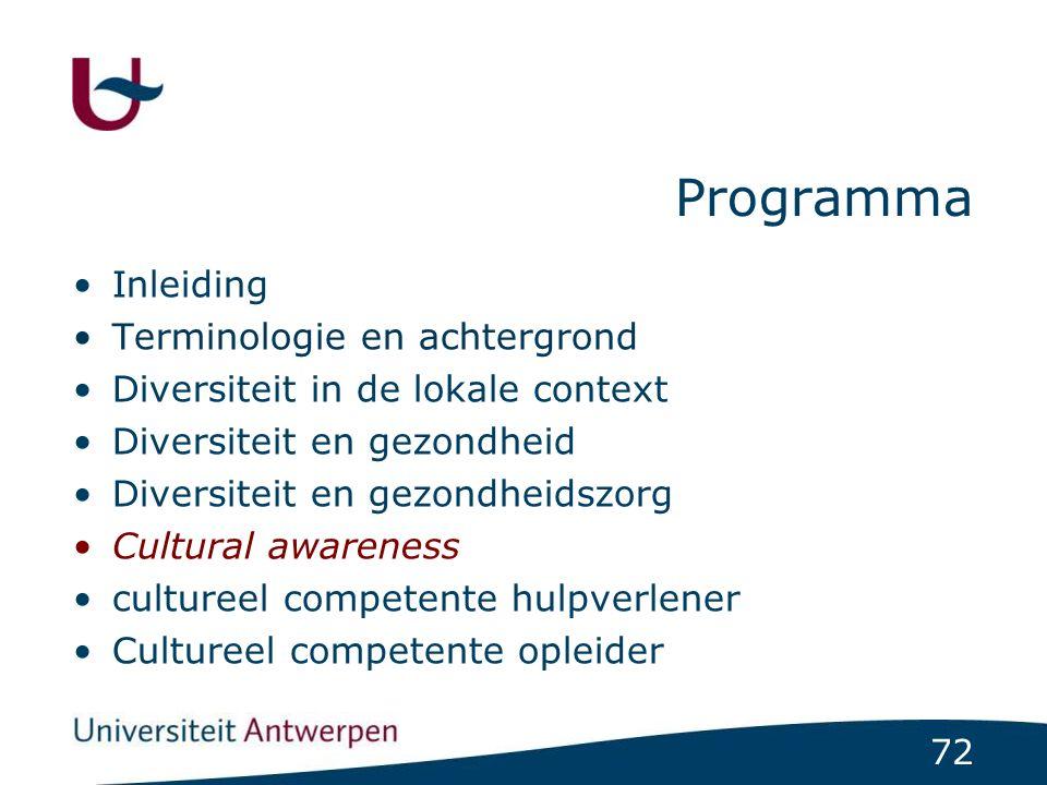 72 Programma Inleiding Terminologie en achtergrond Diversiteit in de lokale context Diversiteit en gezondheid Diversiteit en gezondheidszorg Cultural