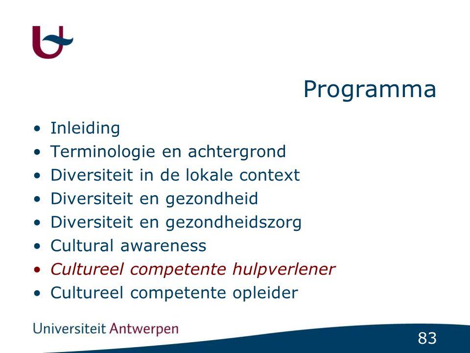 83 Programma Inleiding Terminologie en achtergrond Diversiteit in de lokale context Diversiteit en gezondheid Diversiteit en gezondheidszorg Cultural