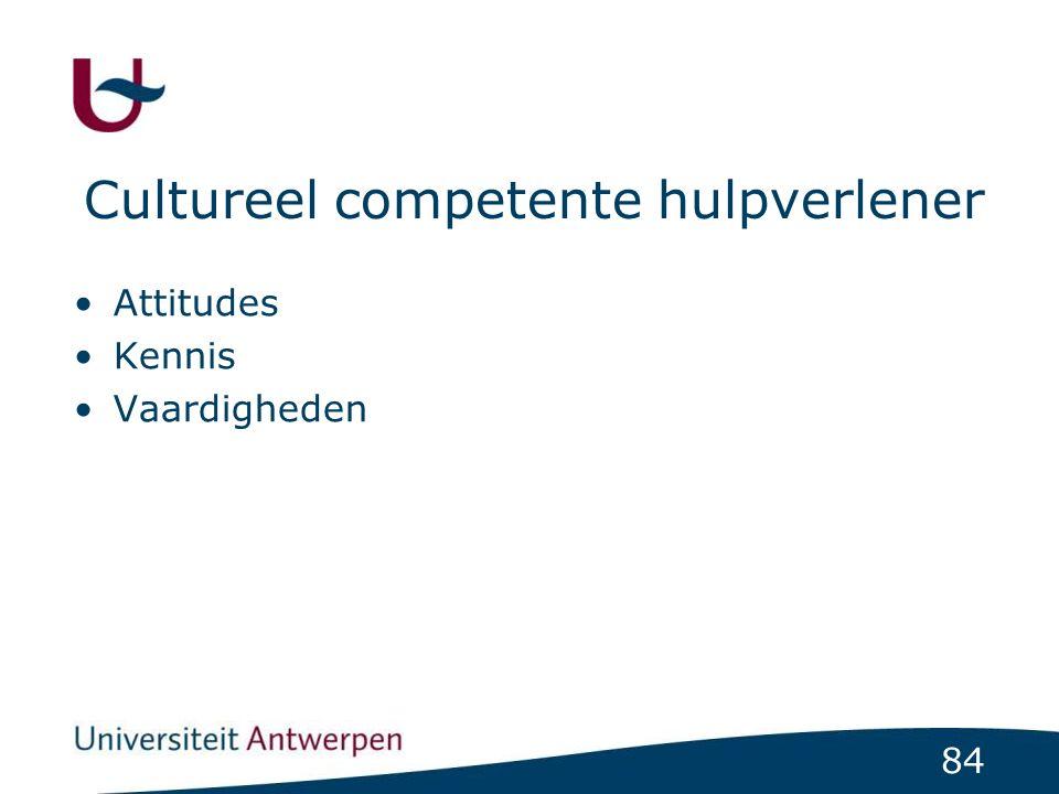 84 Cultureel competente hulpverlener Attitudes Kennis Vaardigheden