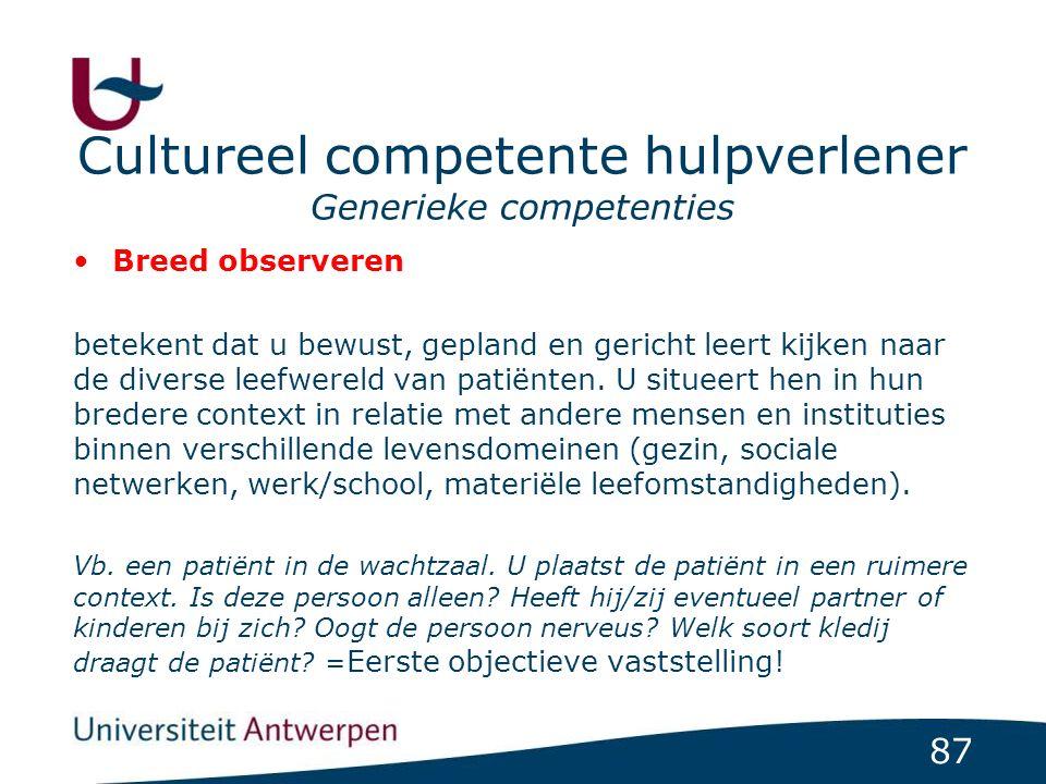 87 Cultureel competente hulpverlener Generieke competenties Breed observeren betekent dat u bewust, gepland en gericht leert kijken naar de diverse leefwereld van patiënten.