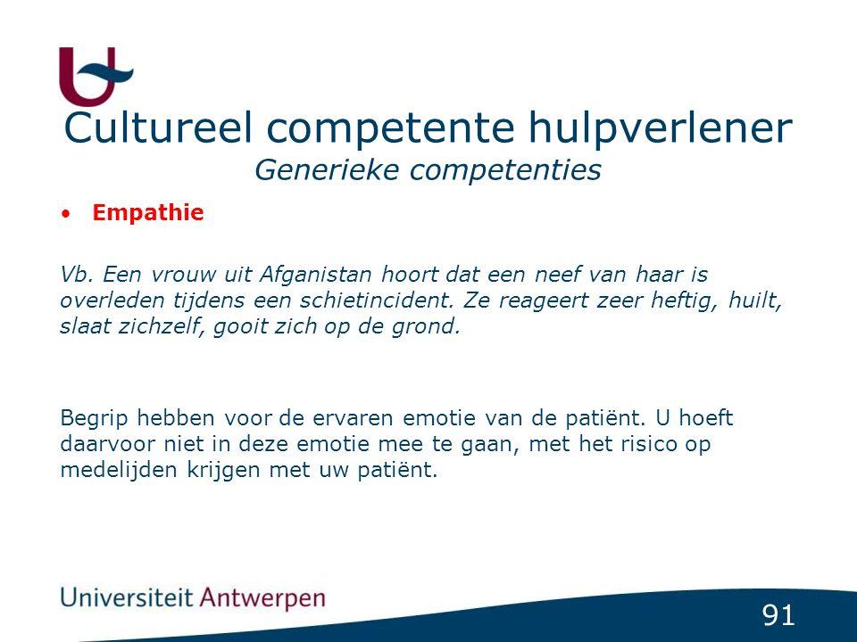 91 Cultureel competente hulpverlener Generieke competenties Empathie Vb.
