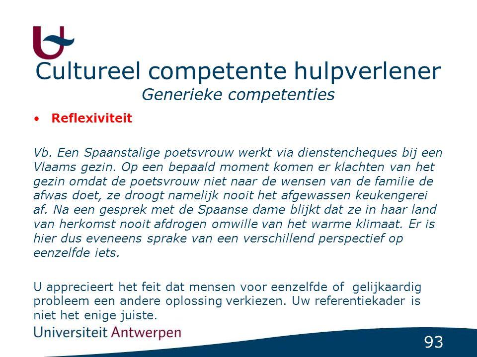 93 Cultureel competente hulpverlener Generieke competenties Reflexiviteit Vb. Een Spaanstalige poetsvrouw werkt via dienstencheques bij een Vlaams gez