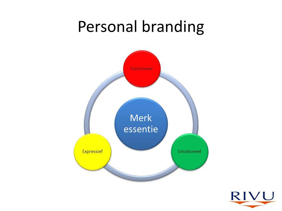 Personal branding Merk essentie Functioneel EmotioneelExpressief