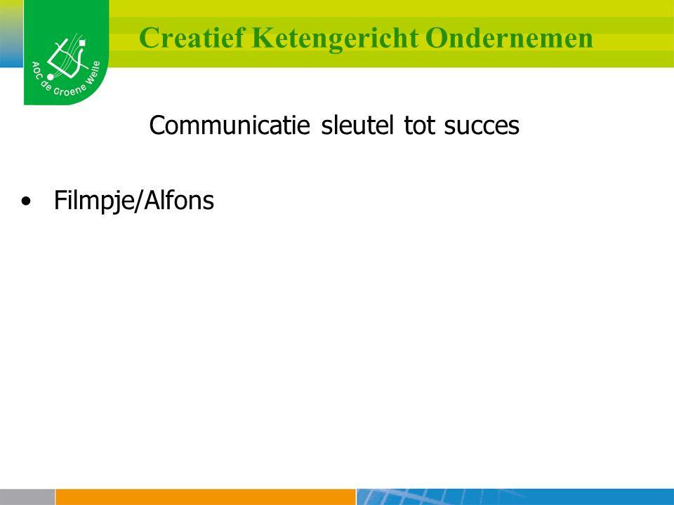 Creatief Ketengericht Ondernemen Communicatie sleutel tot succes Filmpje/Alfons