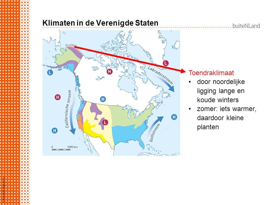 Klimaten in de Verenigde Staten Toendraklimaat door noordelijke ligging lange en koude winters zomer: iets warmer, daardoor kleine planten