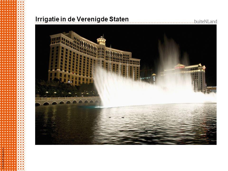 Irrigatie in de Verenigde Staten westelijk: watergebruik voor akkerbouw: rijst, katoen, citrusplantages bewoners fonteinen Las Vegas