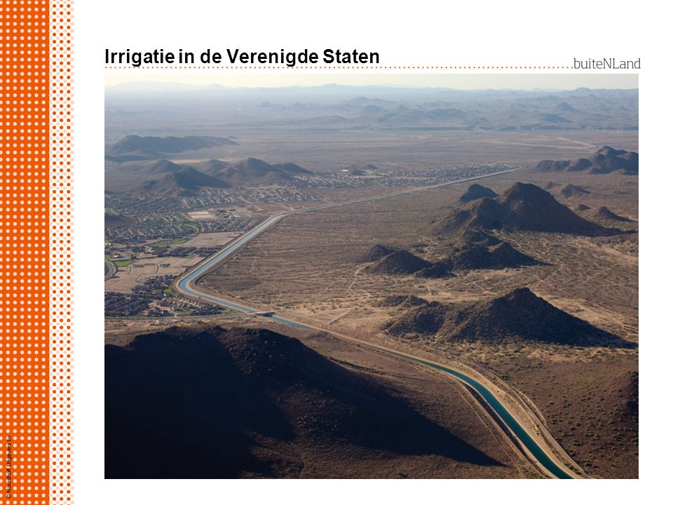 Irrigatie in de Verenigde Staten Zuidwesten VS, belangrijke waterleveranciers: rivier Colorado via kanalen naar gebruikers