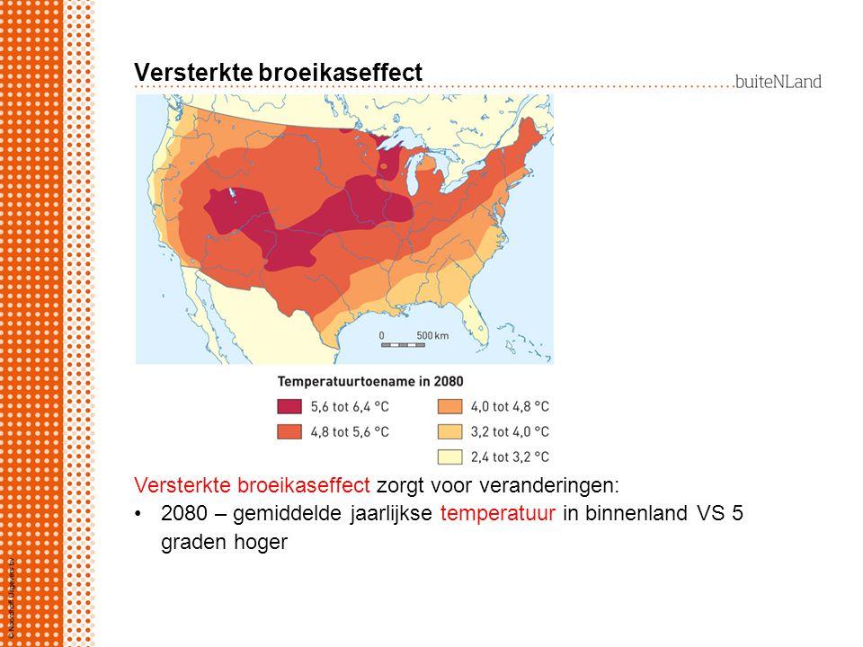 Versterkte broeikaseffect Versterkte broeikaseffect zorgt voor veranderingen: 2080 – gemiddelde jaarlijkse temperatuur in binnenland VS 5 graden hoger