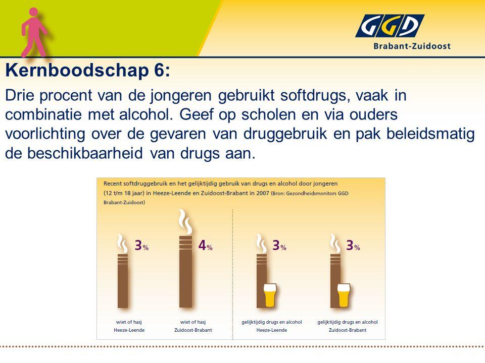 Kernboodschap 6: Drie procent van de jongeren gebruikt softdrugs, vaak in combinatie met alcohol. Geef op scholen en via ouders voorlichting over de g