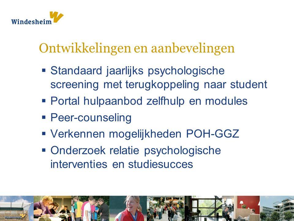 Ontwikkelingen en aanbevelingen  Standaard jaarlijks psychologische screening met terugkoppeling naar student  Portal hulpaanbod zelfhulp en modules  Peer-counseling  Verkennen mogelijkheden POH-GGZ  Onderzoek relatie psychologische interventies en studiesucces