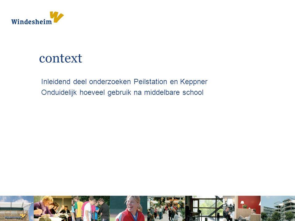 context Inleidend deel onderzoeken Peilstation en Keppner Onduidelijk hoeveel gebruik na middelbare school