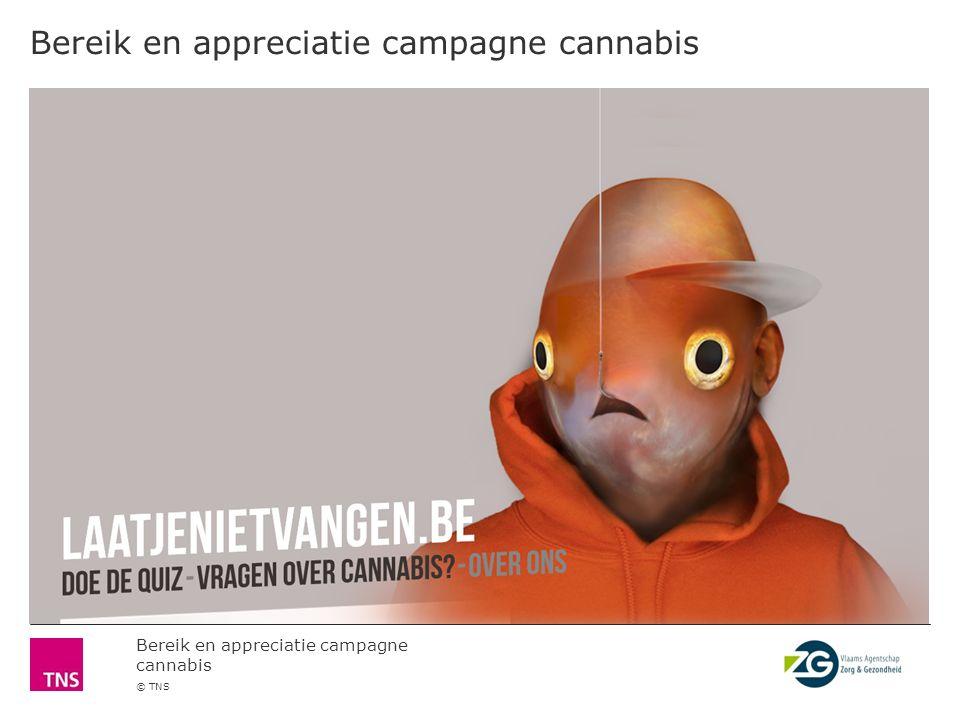 Bereik en appreciatie campagne cannabis © TNS Anderzijds spreekt de campagne 1 op 3 jongeren persoonlijk niet echt aan.