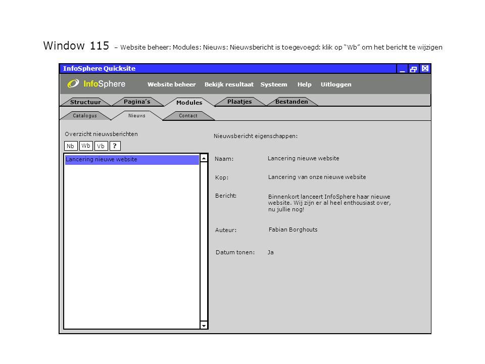 InfoSphere Quicksite   _ Nieuws Catalogus Contact Modules Uitloggen PlaatjesBestanden Structuur Pagina's SysteemBekijk resultaatHelpWebsite beheer   Wb NbVb .