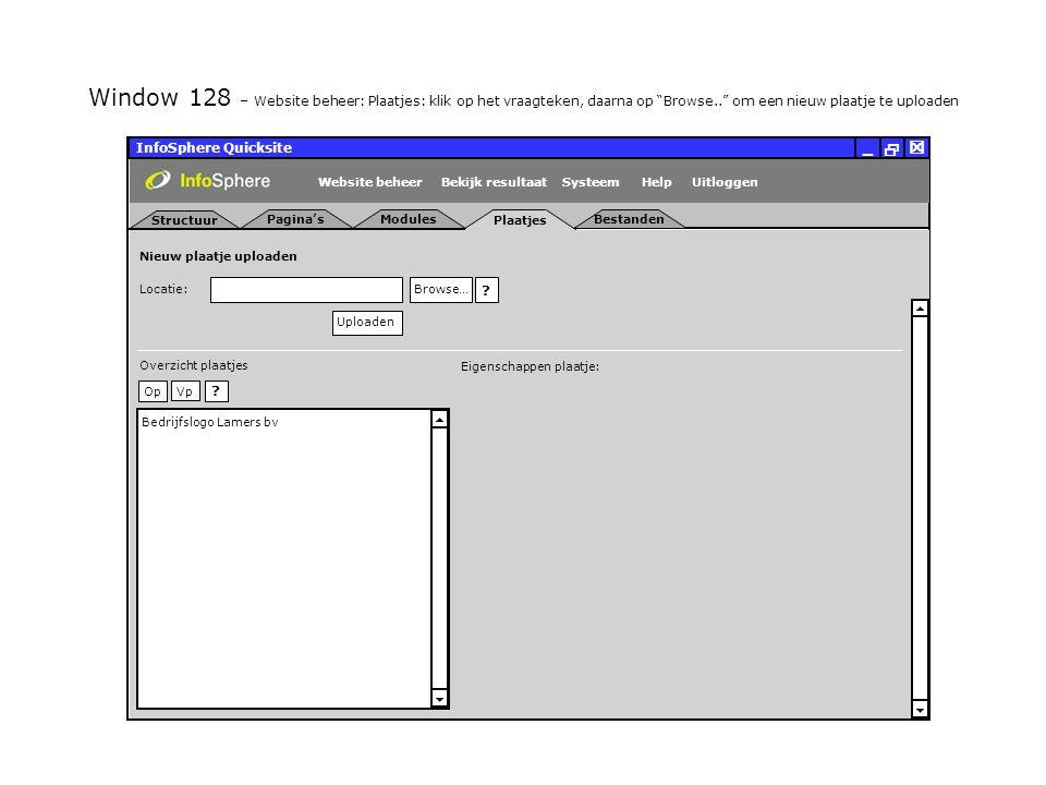 Plaatjes InfoSphere Quicksite   _ Modules Locatie: Browse… Uploaden   Nieuw plaatje uploaden .