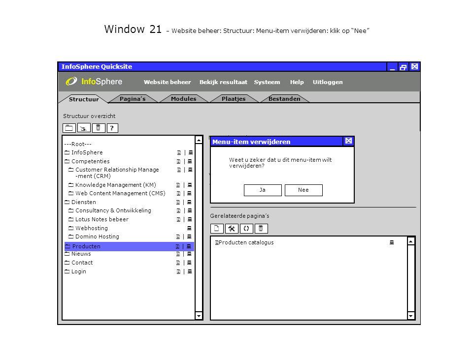 Uitloggen InfoSphere Quicksite   _ Structuur ModulesPlaatjesBestanden Pagina's     Gerelateerde pagina's     .