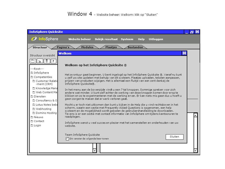 InfoSphere Quicksite   _ Pagina's Structuur Uitloggen ModulesPlaatjesBestanden SysteemBekijk resultaat Algemeen Content Module MetadataGeschiedenis HelpWebsite beheer Wm NmVm .