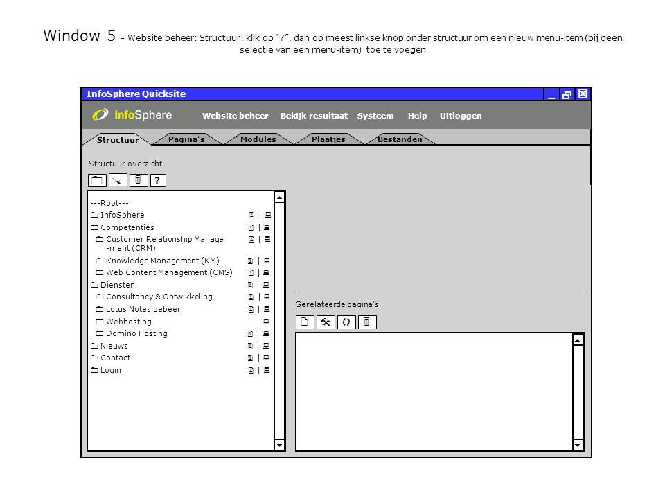 InfoSphere Quicksite   _ Server eigenschappen Plaatjes URL: Bestanden URL: http://isapdev02.infosphere.nl/quicksite/678/325/uploads/plaatjes/ Directories en URLs Server naam: isehv01 Server software: Server adres: http://isapdev02.infosphere.nl/quicksite/678/325/uploads/bestanden/ Systeem directorie:http://isapdev02.infosphere.nl/quicksite/ Handleiding/Help URL:http://www.infosphere.nl/quicksite/docs/ Windows NT Server 192.168.0.100 Server Algemeen UitloggenHelpSysteemBekijk resultaatWebsite beheer Window 146 – Help: FAQ: Stel een vraag: klik op Verzenden Help Sluiten   _ FAQ Contact Helpfunctie Frequently Asked Questions Stel een vraag Wanneer zijn de wijzigingen die ik doe zichtbaar voor bezoekers van mijn website.