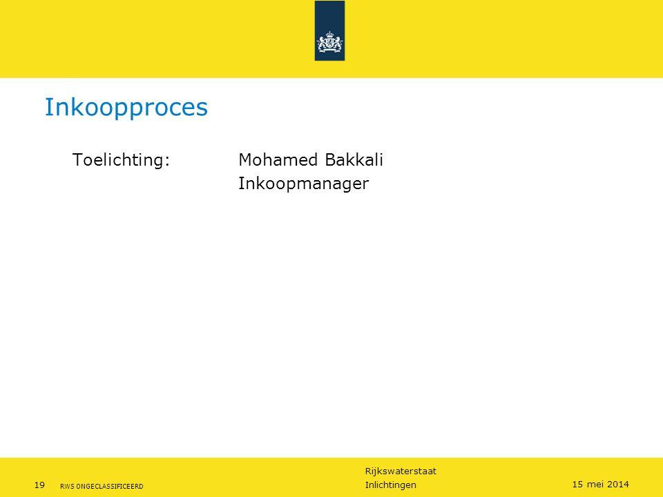 Rijkswaterstaat 19Inlichtingen RWS ONGECLASSIFICEERD 15 mei 2014 Inkoopproces Toelichting: Mohamed Bakkali Inkoopmanager