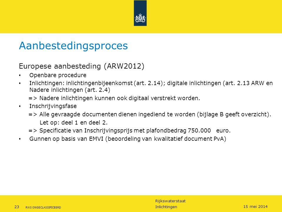 Rijkswaterstaat 23Inlichtingen RWS ONGECLASSIFICEERD 15 mei 2014 Aanbestedingsproces Europese aanbesteding (ARW2012) Openbare procedure Inlichtingen: inlichtingenbijeenkomst (art.