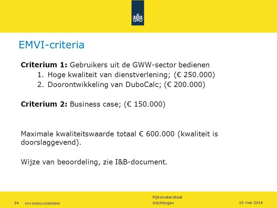 Rijkswaterstaat 24Inlichtingen RWS ONGECLASSIFICEERD 15 mei 2014 EMVI-criteria Criterium 1: Gebruikers uit de GWW-sector bedienen 1.Hoge kwaliteit van dienstverlening; (€ 250.000) 2.Doorontwikkeling van DuboCalc; (€ 200.000) Criterium 2: Business case; (€ 150.000) Maximale kwaliteitswaarde totaal € 600.000 (kwaliteit is doorslaggevend).