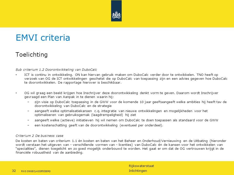 Rijkswaterstaat 32Inlichtingen RWS ONGECLASSIFICEERD Toelichting Sub criterium 1.2 Doorontwikkeling van DuboCalc ICT is continu in ontwikkeling.