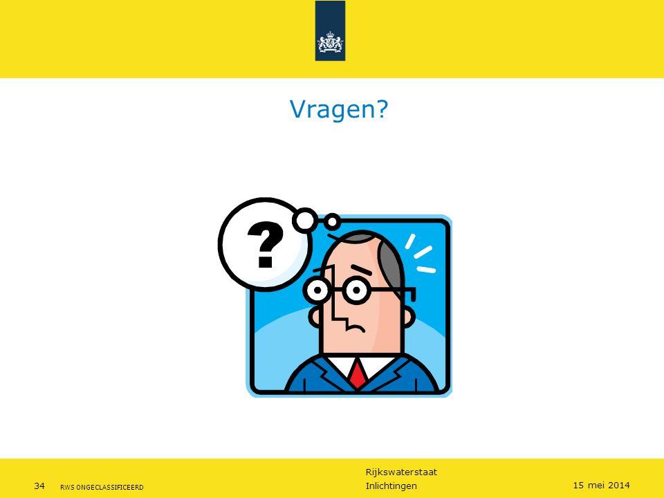 Rijkswaterstaat 34Inlichtingen RWS ONGECLASSIFICEERD 15 mei 2014 Vragen