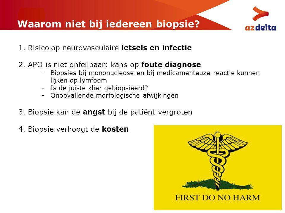 Waarom niet bij iedereen biopsie? 1. Risico op neurovasculaire letsels en infectie 2. APO is niet onfeilbaar: kans op foute diagnose -Biopsies bij mon