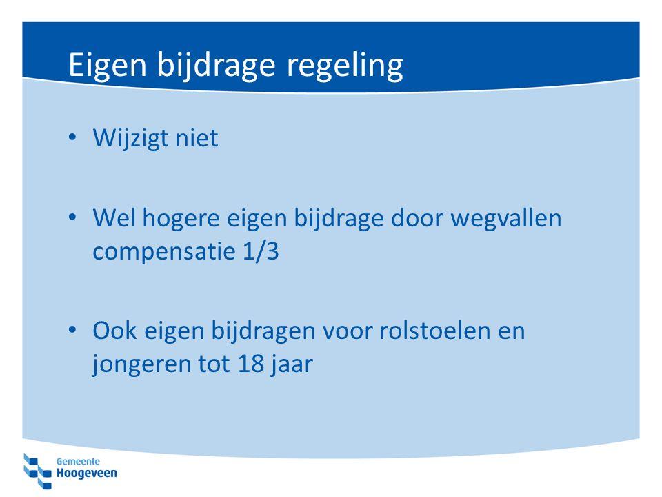 Eigen bijdrage regeling Wijzigt niet Wel hogere eigen bijdrage door wegvallen compensatie 1/3 Ook eigen bijdragen voor rolstoelen en jongeren tot 18 jaar