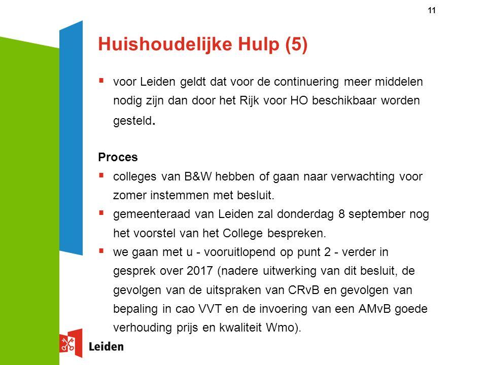 Huishoudelijke Hulp (5)  voor Leiden geldt dat voor de continuering meer middelen nodig zijn dan door het Rijk voor HO beschikbaar worden gesteld.